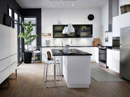 ikea modern kitchen. A Large Modern Kitchen With White Drawers, Black Smoked Glass Doors And Island Ikea T