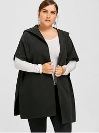 new plus size hooded cape coat black 5xl