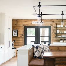 Stained shiplap accent wall