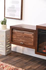 Floating Hanging Fireplace TV Stand  ECO GEO Espresso  WoodwavesFloating Fireplace