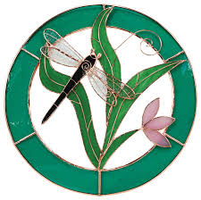 small dragonfly blue circle frame window panel stained glass panels by bird essentials
