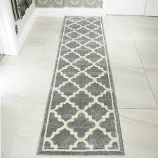 modern soft silver grey moroccan trellis rug long narrow thin hallway runners uk