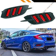 Civic Rear Bumper Light Details About For 16 18 Honda Civic Rear Bumper Reflector Red Lens Led Strip Brake Light Lamp