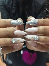 Pointy Nails Designs With Diamonds Neutral Color Pointy Nail With Diamonds Nails Pointy