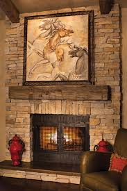 Decorations:Easy Refined Rustic The New Brickstones Stacked Fireplace With  Wooden Mantel Plus Cast Stone