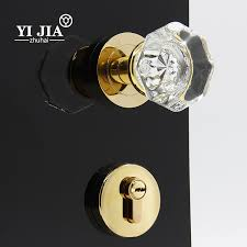 luxury crystal door set with lock gold finish