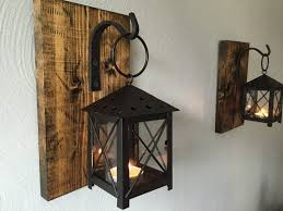 decorative wall sconces candle holders date representation pair lamps lighting holder barnwood rustic lanterns wrought iron