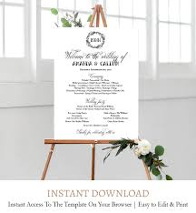 Elegant Script Order Of Events Sign Printable Template Editable Text C3