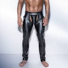 gothic men skinny faux pu leather pants shiny black trousers nightclub stage performance singers r open front leather pants