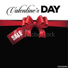 Valentine's Day Sale Tag Background With Big Red Bow. Copy Space ...