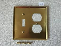 Light Switch Cover Plate H 69 Mcm Vintage Original Solid Brass Outlet Light Switch Cover Plate In Box