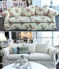 best fabric for slipcovers a natural denim slipcover updates this fl sofa beautifully fabric oz cotton best fabric for slipcovers