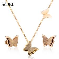 <b>SMJEL Collier Double Butterfly</b> Necklaces for Women Rose Gold ...