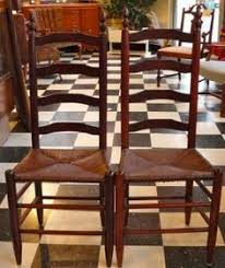 fine clear grained shaker style ladder back chairs with rush seats although we d like them to be pristine 19th century pieces they are rather more