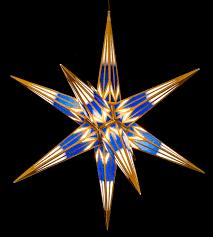 Haßlauer Weihnachtsstern Für Innen Und Außen Blauweiß Mit Goldmuster Inkl Beleuchtung 75 Cm