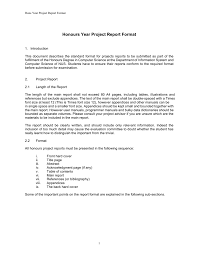 Honours Year Project Report Format