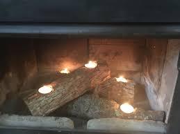 Tea Light Candle Fireplace Log