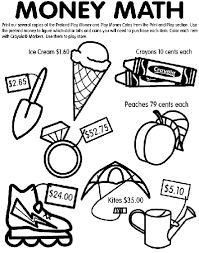 Money Math Coloring Page Crayolacom