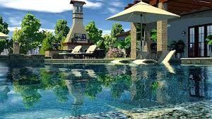 A 3d Pool Design Software Swimming Professional  With Outdoor Fireplace