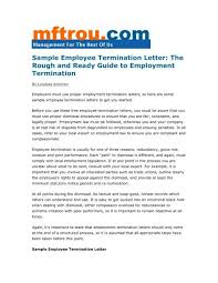 Sample Dismissal Letter Sample Employee Termination Letter Management For The Rest