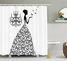 ambesonne fabric shower curtain by love home decor country wedding gifts for romantic wife women artwork prints erflies princess retro parisienne chic