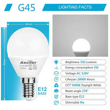 60w Type G Light Bulb Ascher E12 Led Candelabra Light Bulb 5w Equivalent 60w 550lm Daylight White