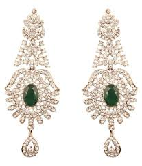 touchstone indian bollywood victorian theme white austrian crystals and oval shape faux emerald chandelier designer jewelry