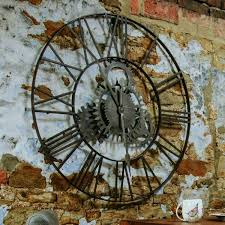 cogs large round metal frame wall clock