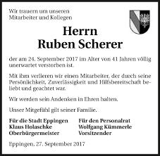 Traueranzeigen von Ruben Scherer   www.trauerundgedenken.de