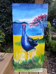 pukeko bird with pohutukawa outdoor wall art panel new zealand garden art patio art on outdoor wall art new zealand with pukeko bird with pohutukawa outdoor wall art panel new zealand