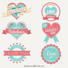 cute valentine day labels collection free vector