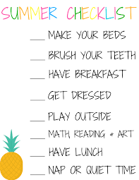 Summer Vacation Checklist Keeping A Routine During Summer