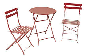 outdoor table and chairs folding. COSCO Outdoor Living All Steel 3-Piece, Folding Bistro Patio Table And Chairs, Red Chairs