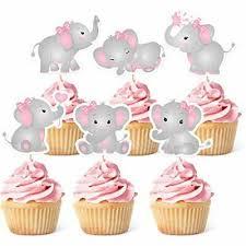 48 elephant theme pink and gray cupcake