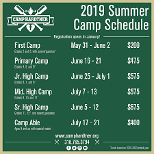Summer Camp Weekly Schedule The 2019 Summer Camp Schedule Is Now Available Camp Hardtner
