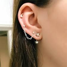 Buy 3 Pcs <b>Women's</b> Studs Star Crescent Design Ladylike <b>Earrings</b> ...