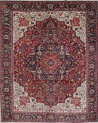 vegetable dye geometric heriz serapi persian hand knotted 12 x14 red