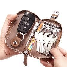 Genuine Leather Car Key Wallets Men Key Holder Housekeeper Keys Organizer  Women Keychain Covers Zipper Key Case Bag Pouch Purse-in Key Wallets from  Luggage ...