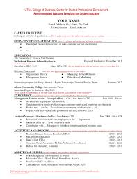 Resume Template for Undergraduate Students. UTSA College of Business,  Center for Student Professional Development Recommended ...