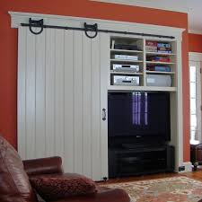 barn door entertainment center. diy sliding barn door console entertainment center