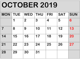 October 2019 Calendar Online Download Free Latest Calendar