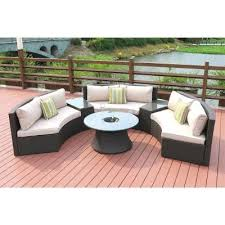 6 piece half moon black wicker outdoor sectional set with beige cushions