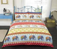 jane elephants red yellow navy blue double bed size indian traditional vintage detail duvet cover quilt