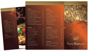 Tri Fold Brochure Template For Bistro Restaurant Menu Order