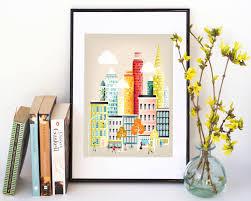 new york city print skyline wall art prints paper poster