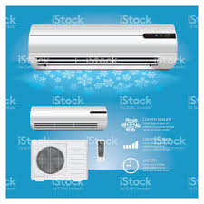 cold air conditioning. air conditioner realistic and remote control with cold symbols royalty-free stock vector art conditioning