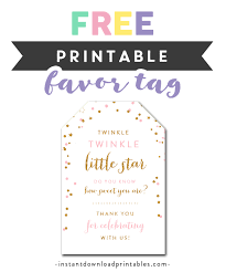 Free Printable Favor Tags Free Printable Thank You Tags Twinkle Twinkle Little Star