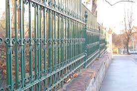 metal fence with green painting stock photo image of curve fence 37448480