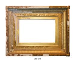 extensive damage of the samuel colman picture frame before restoration