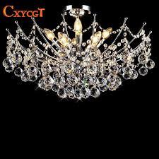 luxury re vanity modern crystal chandelier lighting fixture chrome finish led ceiling lamp for dining room